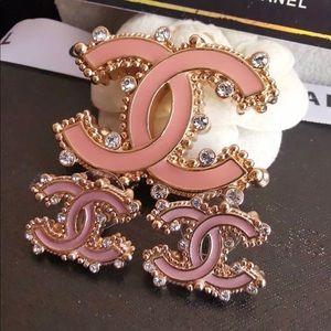 Double Sided Pink Enamel Brooch Set